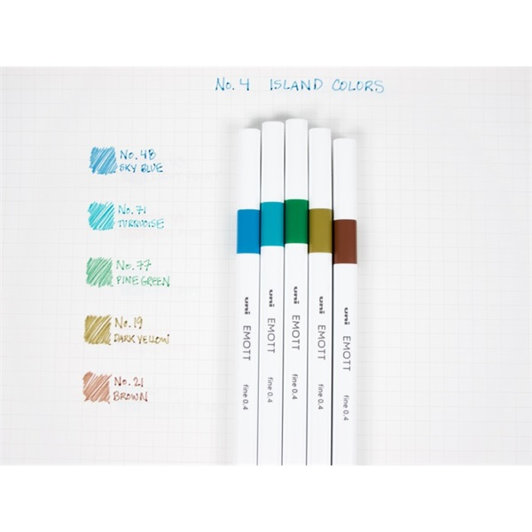 Uni Emott No.4 Island Colors 5db-os vegyes színű tűfilc készlet - 1
