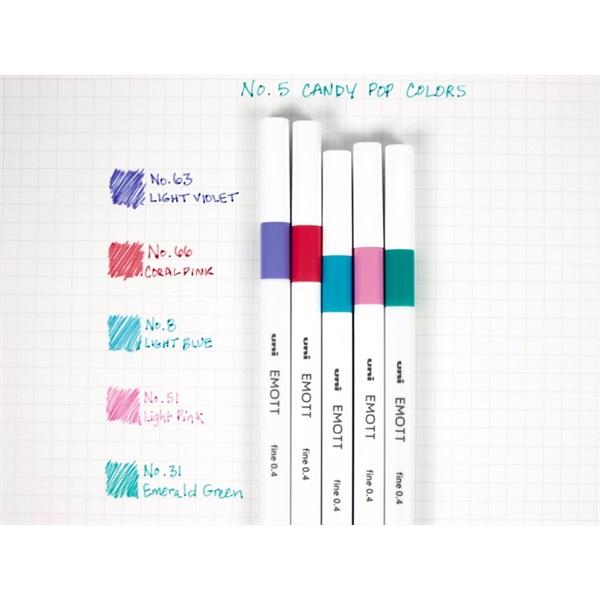 Uni Emott No.5 Candy Pop Colors 5db-os vegyes színű tűfilc készlet - 1