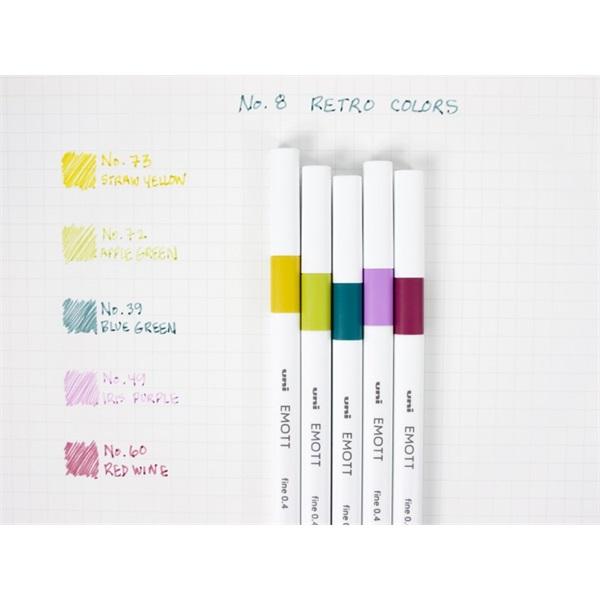Uni Emott No.8 Retro Colors 5db-os vegyes színű tűfilc készlet - 1