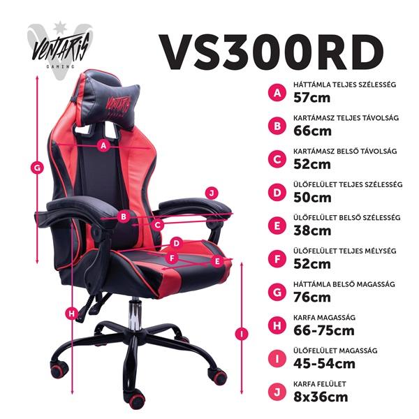 Ventaris VS300RD piros gamer szék - 6