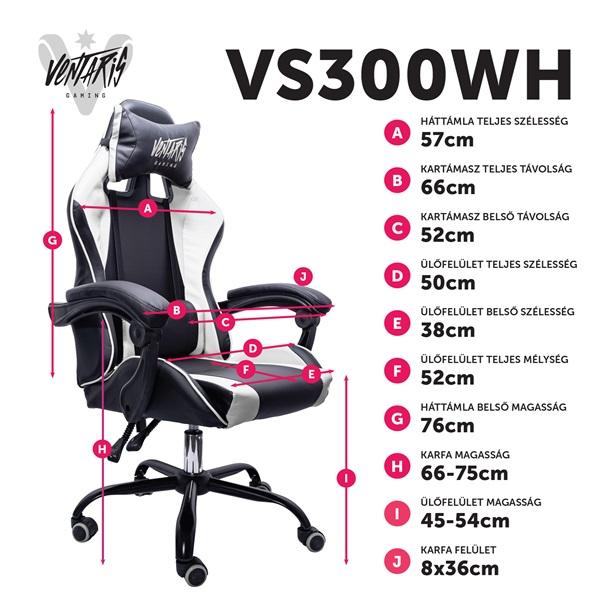 Ventaris VS300WH fehér gamer szék - 6